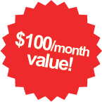 $100/month value!